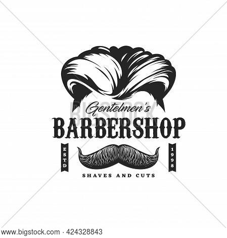 Barbershop Icon With Haircut, Man Beard And Mustaches Shave Salon, Vector. Barber Shop Sign With Gen