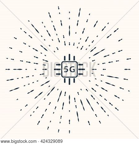 Grey Computer Processor 5g With Microcircuits Cpu Icon Isolated On Beige Background. Chip Or Cpu Wit