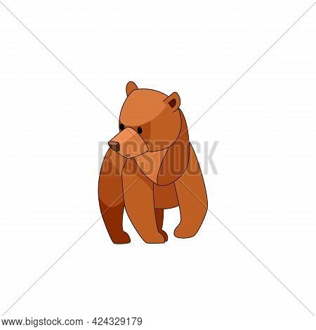 The Bear Cub Walks Around And Looks Around In Surprise. Front View. Cartoon Character Of A Baby Mamm