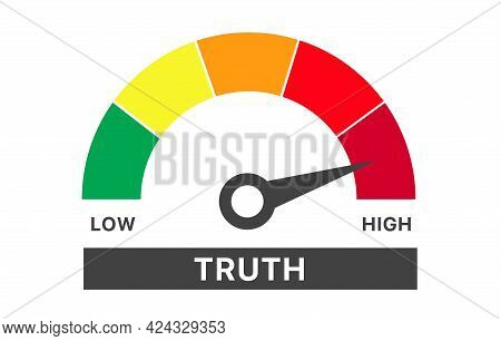 Meter Of Truth Result. Color Scale With Arrow. The Measuring Device Icon. Colourful Infographic Gaug