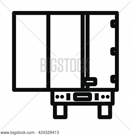 Truck Trailer Rear View Icon. Bold Outline Design With Editable Stroke Width. Vector Illustration.