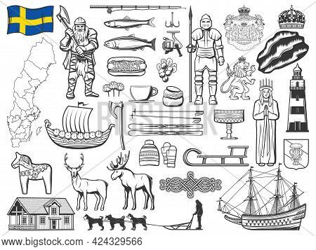 Sweden History, Nature And Culture Symbols Vector Icons. Sweden Flag, Vasa Coat Of Arms And Ship, Ro