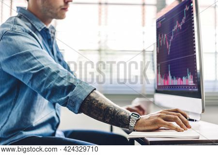 Successful Of Business Trader Investor Man Use Technology Computer Trading Graph Of Block Chain Stoc