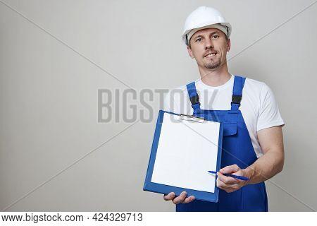 Repair Man Holding Paper Clipboard Document