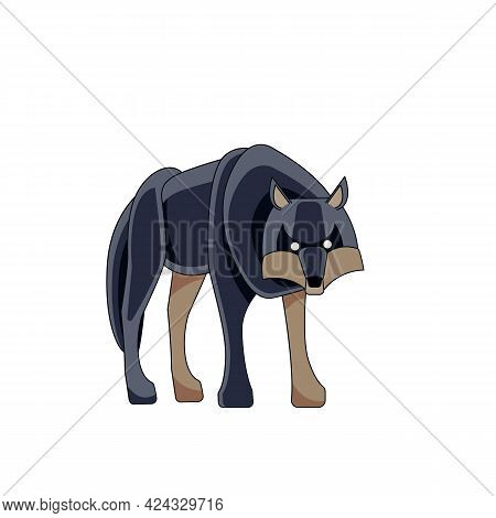 Big Wolf Looks And Walks Straight. Cartoon Character Of A Dangerous Mammal Animal. A Wild Forest Cre