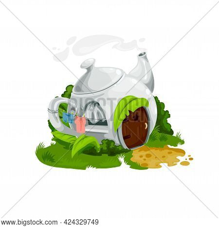 Fairytale Porcelain Teapot House, Vector Fantasy Building, Home For Gnome, Fairy Or Elf With Steamin