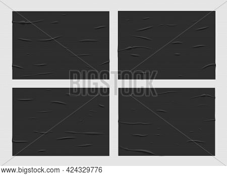 Black Glued Wet Paper Posters, Wrinkled And Crumpled Texture. Vector Creased Rectangular Sheets With