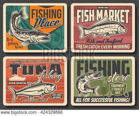 Fishing Sport Retro Posters With Vector Fish, Fisherman Tackle And Fishing Boat. Ocean Tuna, Fishing