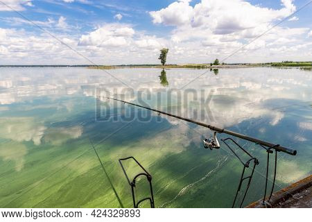 Scenic Landscape View Of Fishing Rod On Wooden Pier Blooming Green Algae Weed Lake Or River Surface