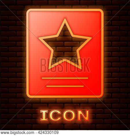 Glowing Neon Hollywood Walk Of Fame Star On Celebrity Boulevard Icon Isolated On Brick Wall Backgrou