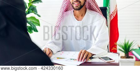 Successful Of Group Collegue Arab Business People Working With Laptop Computer And Document Report.c