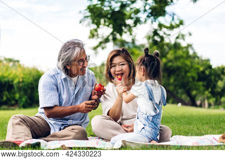 Portrait Of Happy Asian Grandfather With Grandmother And Asian Little Cute Girl Enjoy Relax In Summe