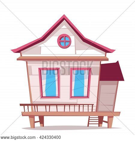 Beach House On Wooden Stilts Isolated On White Background. Vector Cartoon Illustration With White Be