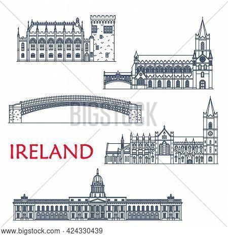Ireland Landmarks And Architecture, Dublin Buildings And Travel Sightseeing, Vector Icons. Irish Ha