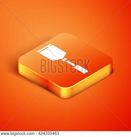 Isometric Spatula Icon Isolated On Orange Background. Kitchen Spatula Icon. Bbq Spatula Sign. Barbec