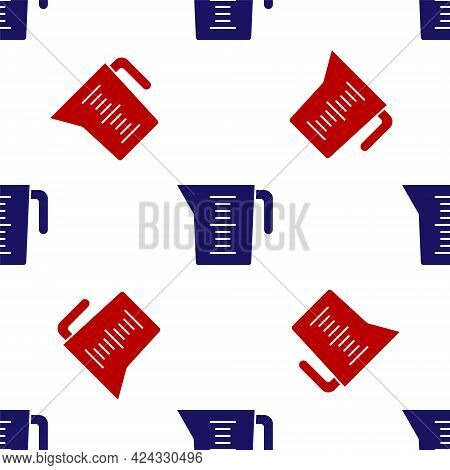 Blue And Red Measuring Cup To Measure Dry And Liquid Food Icon Isolated Seamless Pattern On White Ba