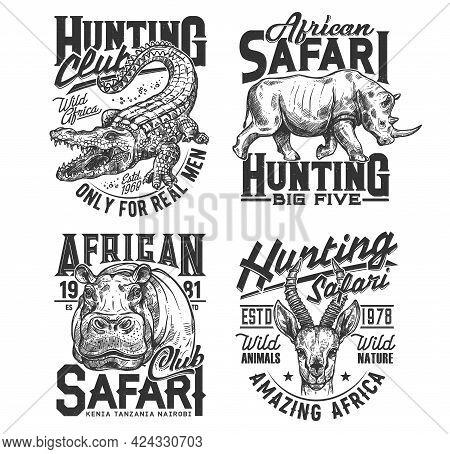Safari Hunting Club T Shirt Prints, Animals Trophy, Hunter Sport Vector Icons. African Safari Hunt W