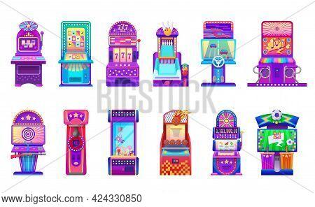 Cartoon Slot And Arcade Gaming Machines. Casino And Kids Entertainment Center Gambling Machines, Vec