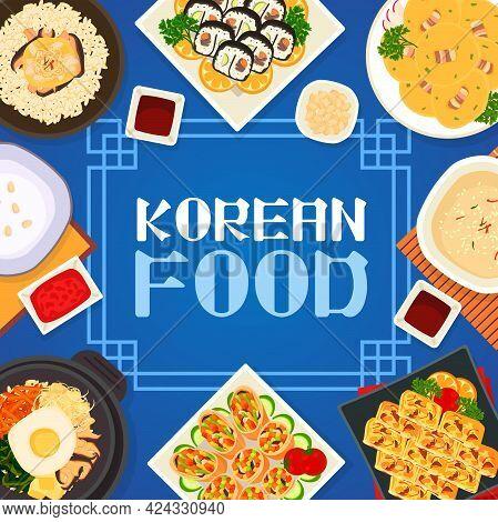 Korean Cuisine Vector Pudding, Chicken Mushroom Rice Or Bean Pancakes With Bacon. Vegetable Omelette