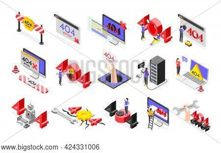 Error Isometric Icon Set With Different Abstract Elements Tools And Signs Relevant To Error Four Hun