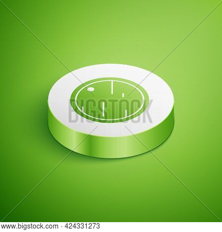 Isometric Cutting Board Icon Isolated On Green Background. Chopping Board Symbol. White Circle Butto