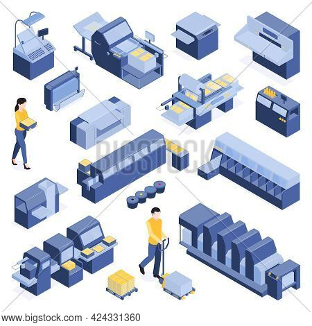 Printing House Isometric Set With Polygraphy Symbols Isolated Vector Illustration