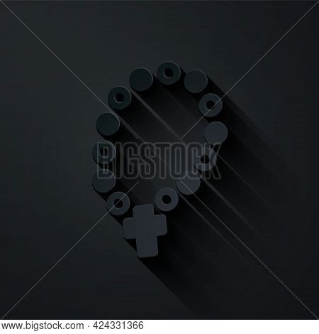 Paper Cut Rosary Beads Religion Icon Isolated On Black Background. Paper Art Style. Vector