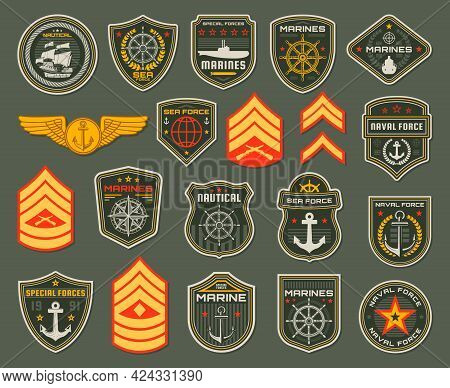 Army Naval Forces Soldier, Marines Badges And Rank Shoulder Straps. Coastal Guard Fighter, Army Elit