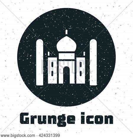 Grunge Taj Mahal Mausoleum In Agra, Indiaicon Isolated On White Background. Monochrome Vintage Drawi