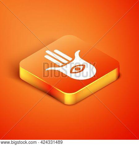Isometric Hamsa Hand Icon Isolated On Orange Background. Hand Of Fatima - Amulet, Symbol Of Protecti