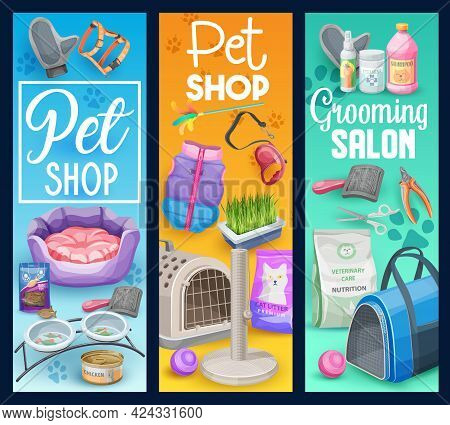 Cat And Kitten Pet Animal Care Vector Banners Of Pet Shop And Grooming Salon. Cat Or Kitten Care Sup