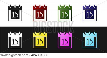Set Happy Independence Day India Icon Isolated On Black And White Background. Flyer Design For 15th