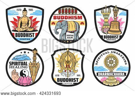 Buddhism Icons, Spiritual Practices Center. Vector Meditating Buddha Sitting In Lotus, Elephant And
