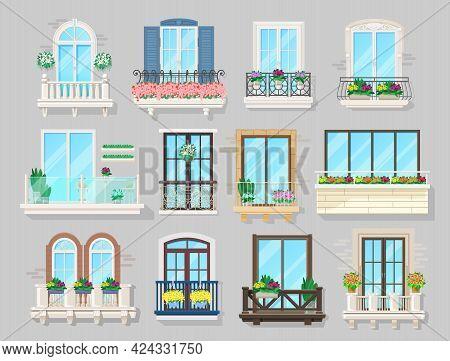 House Balcony, Building Facade Or City Street Architecture Interior Design. Vector Balcony With Wrou
