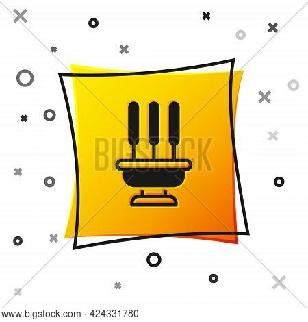 Black Burning Aromatic Incense Sticks Icon Isolated On White Background. Yellow Square Button. Vecto