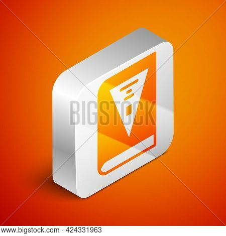 Isometric 26 November India Constitution Day Icon Isolated On Orange Background. Silver Square Butto