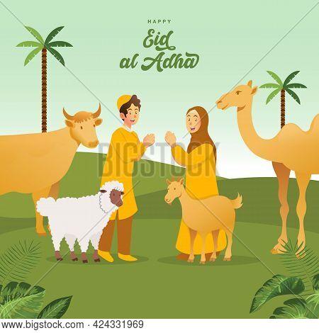 Eid Al Adha Greeting Card. Cute Cartoon Muslim Kids Celebrating Eid Al Adha With Sacrificial Animals