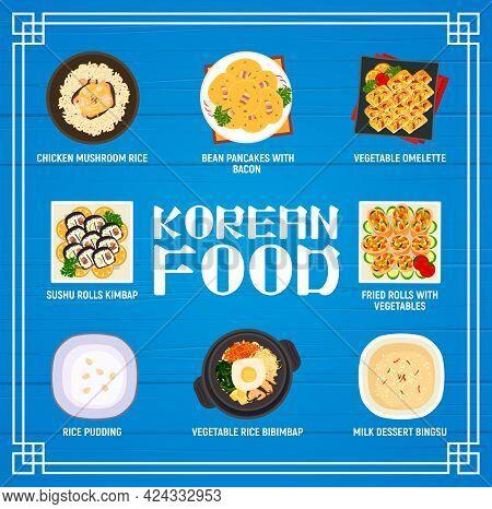 Korean Cuisine Vector Menu Chicken Mushroom Rice, Bean Pancakes With Bacon And Vegetable Omelette. S