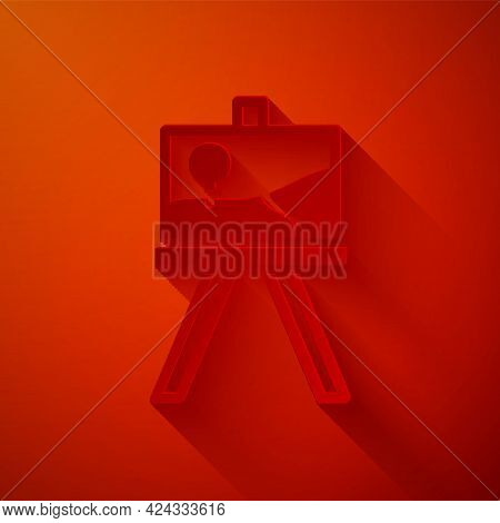 Paper Cut Wood Easel Or Painting Art Boards Icon Isolated On Red Background. Paper Art Style. Vector