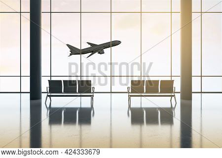 Travel And Business Trip Concept With Empty Spacious Airport Hall And Taking Off Plane Outside The G