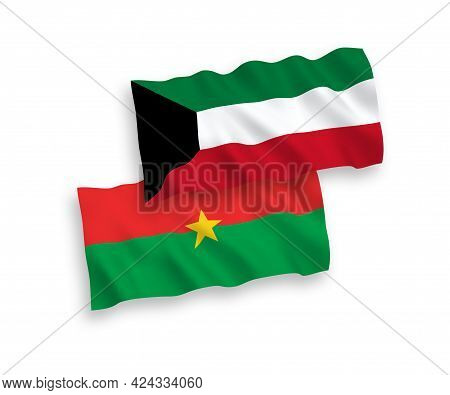 National Fabric Wave Flags Of Burkina Faso And Kuwait Isolated On White Background. 1 To 2 Proportio