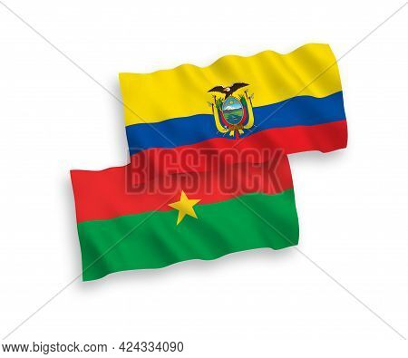 National Fabric Wave Flags Of Burkina Faso And Ecuador Isolated On White Background. 1 To 2 Proporti