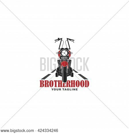 Chopper Motorcycle Logo In Vintage Color Suitable For A Motorcycle Club Icon Or A Big Event About Mo