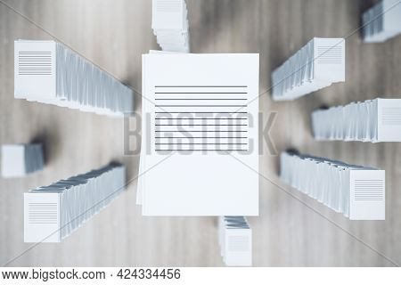 Top View Of Paperwork Stack On Wooden Background. Workload And Bureaucracy Concept. 3d Rendering