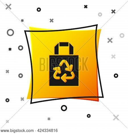 Black Paper Shopping Bag With Recycle Icon Isolated On White Background. Bag With Recycling Symbol.