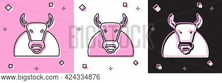 Set Bull Icon Isolated On Pink And White, Black Background. Spanish Fighting Bull. Vector