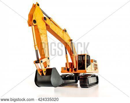 3D rendering of orange crawler excavator on white background