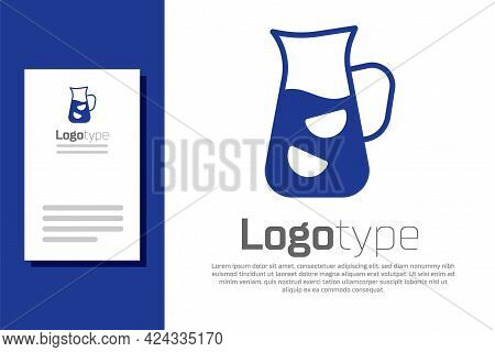 Blue Sangria Icon Isolated On White Background. Traditional Spanish Drink. Logo Design Template Elem