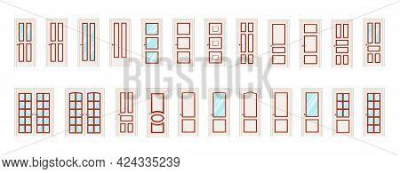 Entrance Doors And Interior Doors In Beige. Big Collection Of Vector Doors.