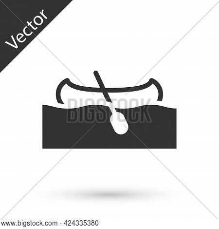 Grey Kayak And Paddle Icon Isolated On White Background. Kayak And Canoe For Fishing And Tourism. Ou